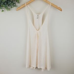 Free People Peach Ribbed Knit Racer Back Tank XS
